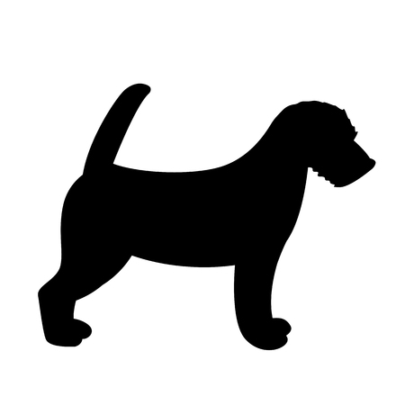 Terrier Jack Russell puppy,vector illustration, silhouette,profile view