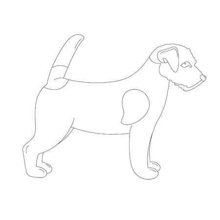 Terrier Jack Russell puppy,vector illustration, lining draw ,profile view