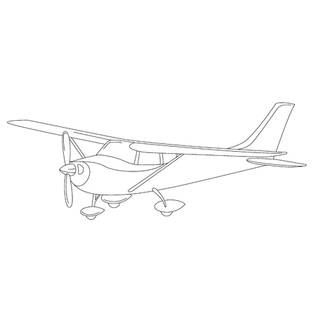 small private plane, vector illustration,  lining draw