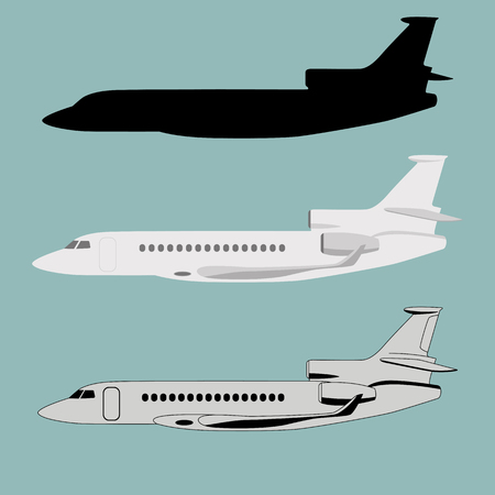 set jet airliner, vector illustration ,flat style, side view