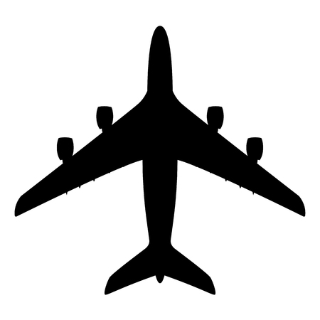 large passenger plane ,vector illustration, black silhouette  イラスト・ベクター素材