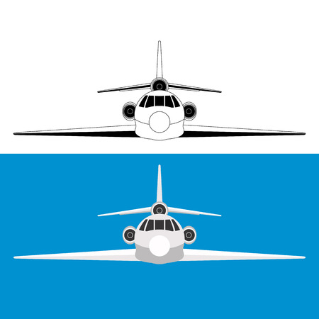 jet airliner, vector illustration ,flat style, front view