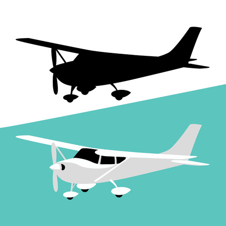 small private plane, vector illustration, flat style, black silhouette