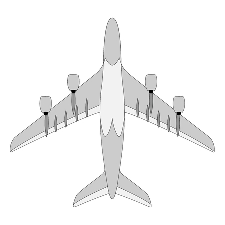 large passenger plane ,vector illustration, lining draw  イラスト・ベクター素材