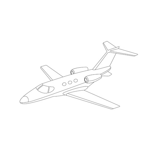 jet airliner, vector illustration ,lining draw, side view  イラスト・ベクター素材