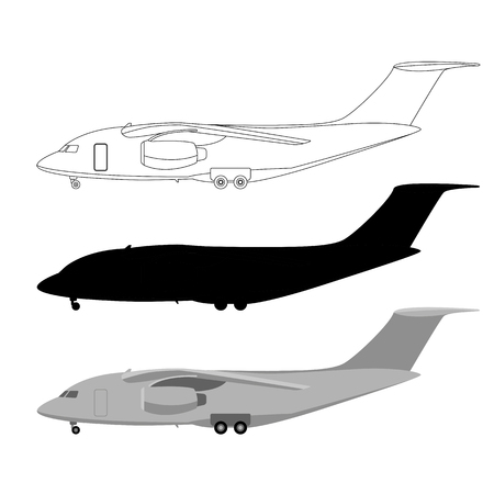 large transport aircraft, vector illustration, set