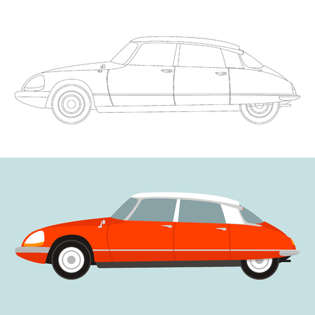vintage car,vector illustration,lining draw,profile side