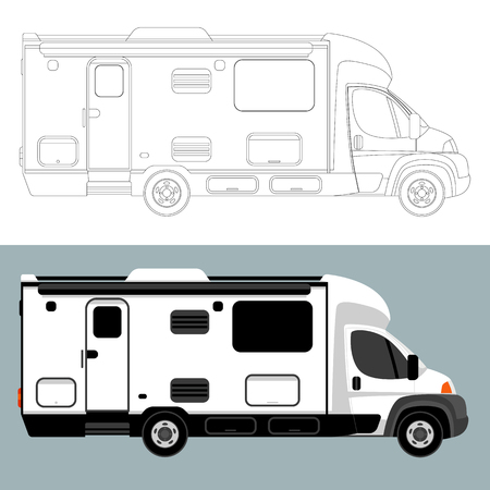 camping  car,vector illustration,lining draw,profile side  イラスト・ベクター素材