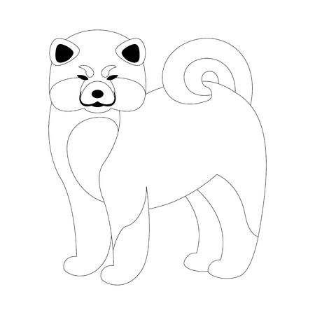 akita dog, vector illustration, lining draw,profile side