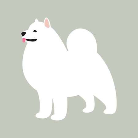 akita dog, vector illustration,flat style,profile side  イラスト・ベクター素材