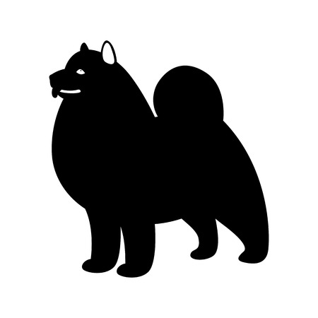 akita dog, vector illustration, black silhouette,profile side