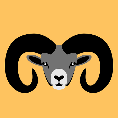 ram head,    vector illustration,  flat style, front side