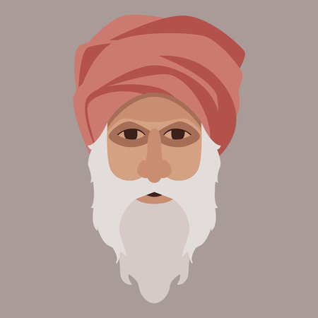 head man in a turban, vector illustration,flat style  イラスト・ベクター素材