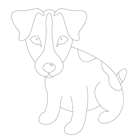 Russell Terrier puppy,   vector illustration, lining draw  イラスト・ベクター素材