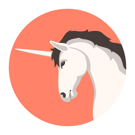 head unicorn,   vector illustration, profile side