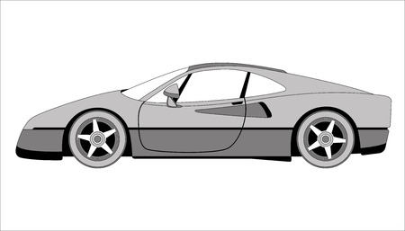 sport car, vector illustration,profile side, lining draw  イラスト・ベクター素材