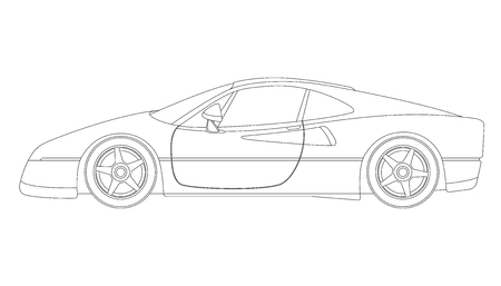 red sport car, vector illustration,profile side, lining draw