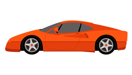 red sport car, vector illustration,profile side  イラスト・ベクター素材