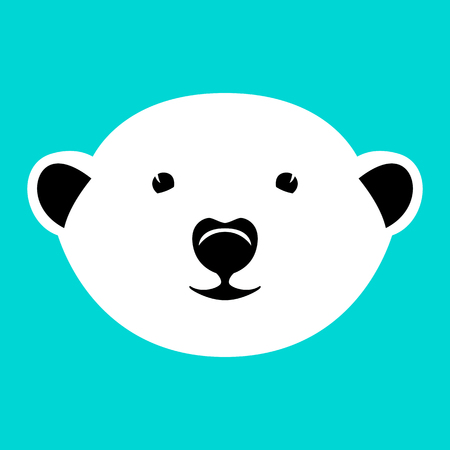 cartoon polar bear face, vector illustration, front view