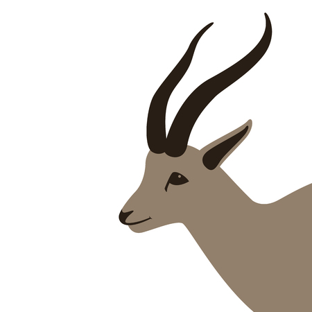 antelope  head , vector illustration,flat style,profile side