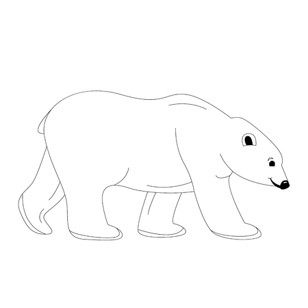 polar bear , vector illustration,lining draw,profile view  イラスト・ベクター素材