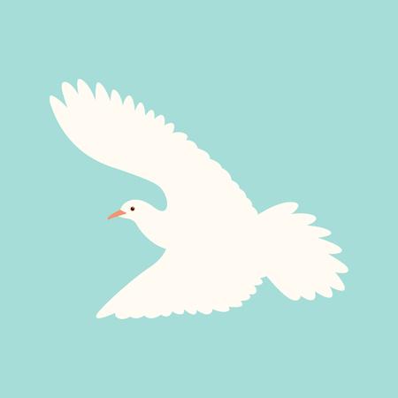 dove.vector blanc illustration, style plat, vue de profil Vecteurs