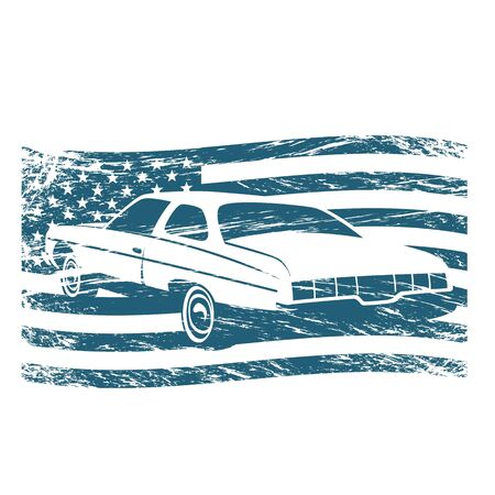 classic American car on the background of the American flag ,silhouette