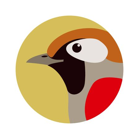 bird  head red-tailed haughing thrush,vector illustration, profile Ilustração