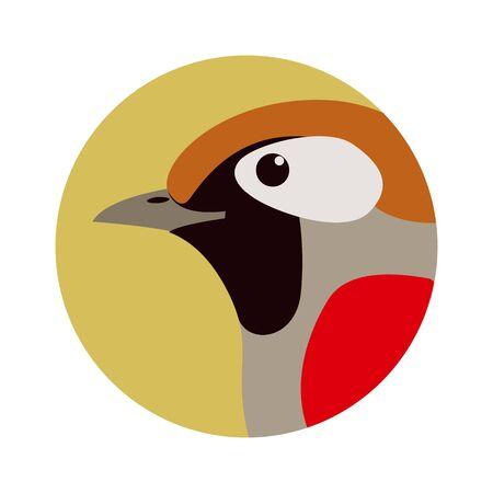 bird  head red-tailed haughing thrush,vector illustration, profile Illustration