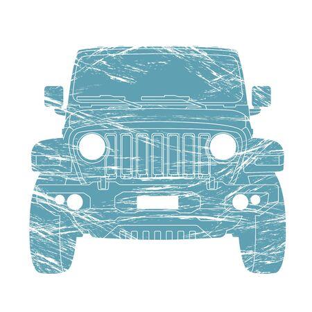 off - road vehicle,vector illustration, front side ,flat Ilustração