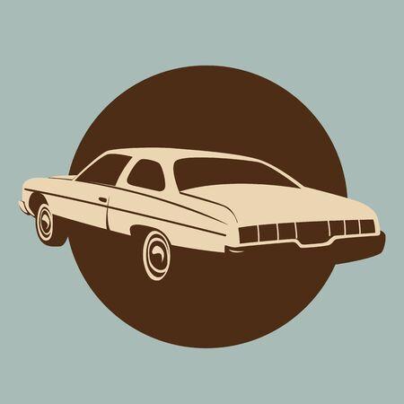 classic American car,vector illustration,profile view,silhouette