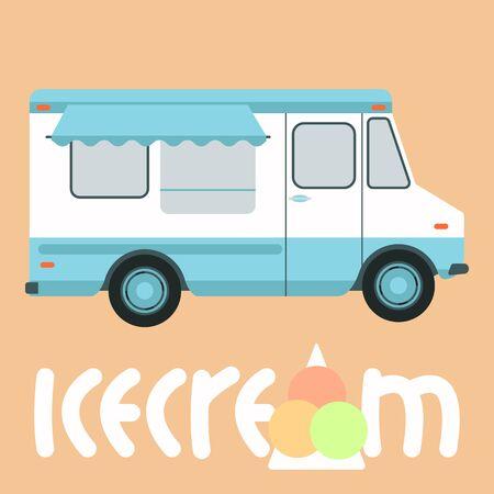 ice cream truck,vector illustration,flat style,profile view Illusztráció