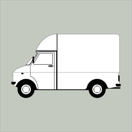 cargo van,vector illustration, lining draw,profile side  イラスト・ベクター素材