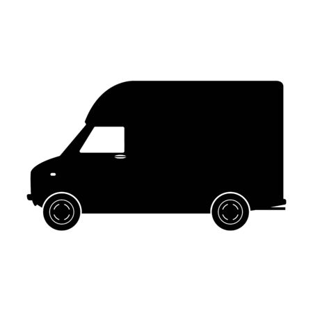 cargo van,vector illustration, black silhouette,profile side