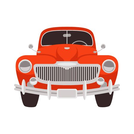 vintage red car,vector illustration, flat style, front view 일러스트