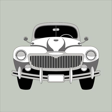 vintage car,vector illustration,  lining draw, front view  イラスト・ベクター素材