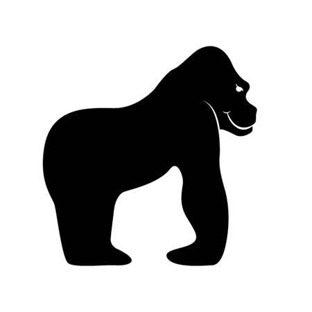 gorilla silhouette black.vector illustration,profile view Vettoriali