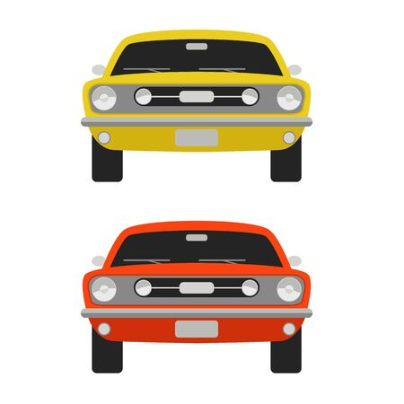 classic red  sport car, vector illustration,front side, flat style