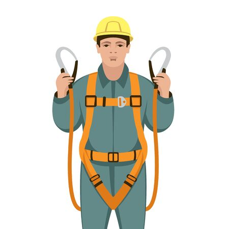 worker safety belts , vector illustration , flat style, front side