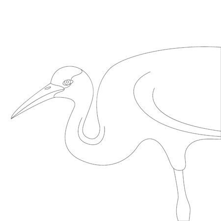 crane bird , vector illustration,  lining draw, profile side