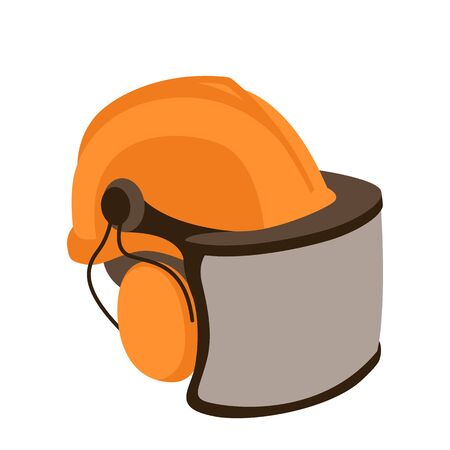 Helmet of woodcutter,  vector illustration,flat style