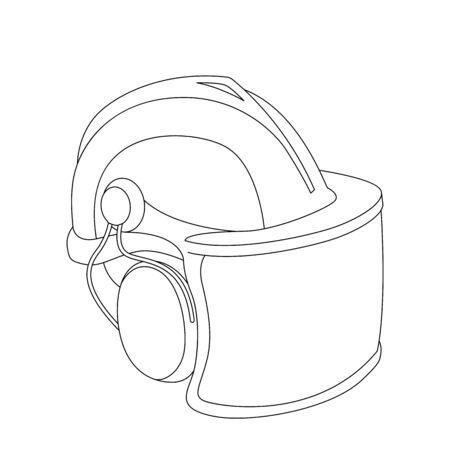 Helmet of woodcutter,  vector illustration, lining draw