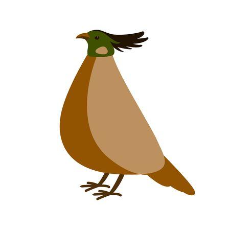 pheasant vector illustration, flat style,profile side