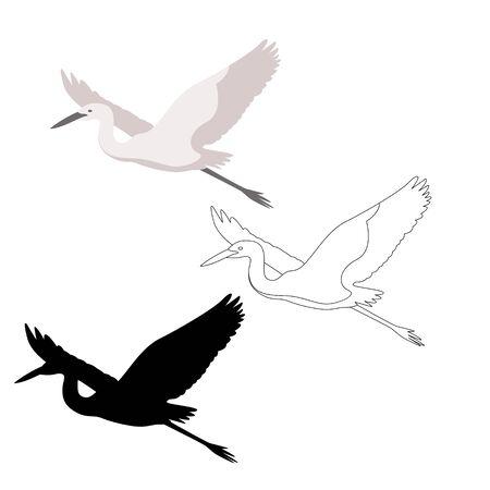heron  vector illustration, flat style,profile side,black silhouette 일러스트