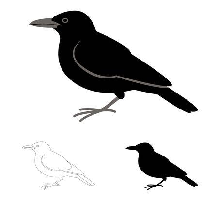crow bird, flat style black silhouette, lining draw set Vetores