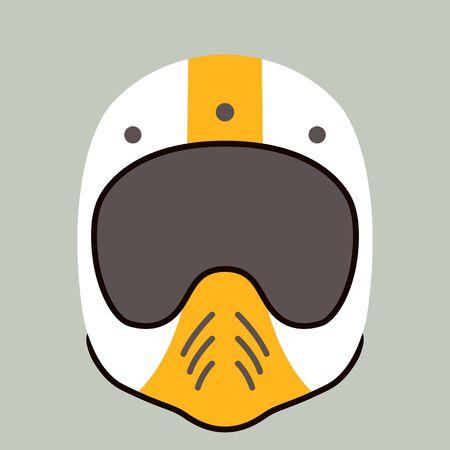 motorcycle helmet, vector illustration,flat style , front view Illustration