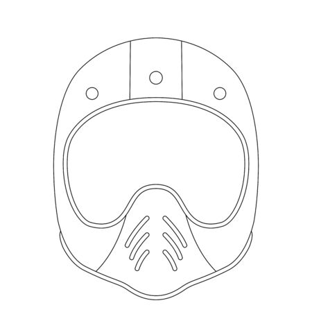 motorcycle helmet, vector illustration, lining draw ,  front view