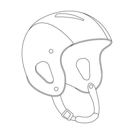 crash helmet, vector illustration, lining draw , profile view