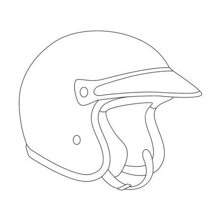 motorcycle helmet, vector illustration, lining draw , profile view