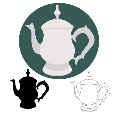 vintage teapot , vector illustration,flat style,silhouette lining draw
